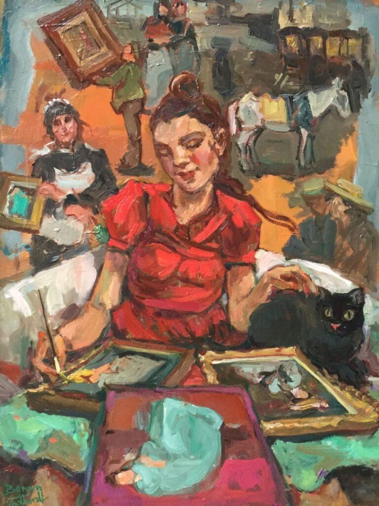 Schilderijen te koop, kunstschilder Sacha Borgen Lindhardt Kunstenares in rood met zwarte kat en schilderijen olieverf op paneel, 39.5 x 30 cm linksonder gesigneerd, expositie Galerie Wijdemeren Breukeleveen