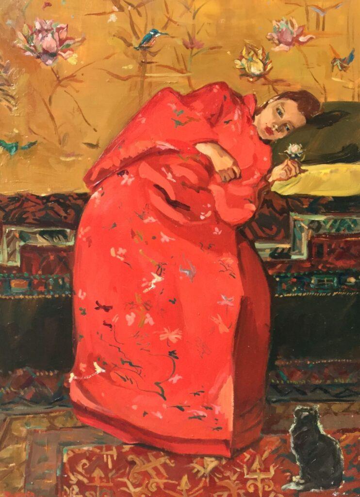 Schilderijen te koop, kunstschilderSacha Borgen Lindhardt Kimono rood met poes Olieverf op Japanse Lakdeur, 52.5 x 39.5 cm l.o. gesigneerd, expositie Galerie Wijdemeren Breukeleveen