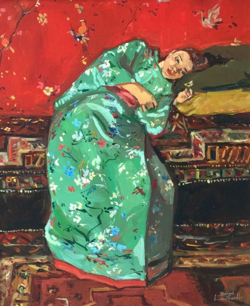 schilderijen te koop van kunstschilder, Sacha Borgen Lindhardt Kimono liggend groen, olieverf op paneel, paneelmaat 45 x 37.5 cm rechtsonder gesigneerd, expositie, galerie wijdemeren breukeleveen