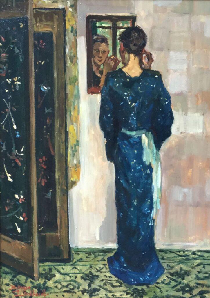 Schilderijen te koop, kunstschilder Sacha Borgen Lindhardt Kimono staand blauw Olie op paneel, paneelmaat 45 x 33 cm linksonder gesigneerd, Expositie Galerie Wijdemeren Breukeleveen