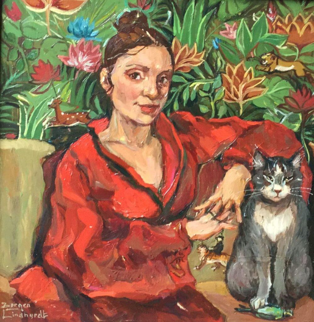 Schilderijen te koop, kunstschilder Sacha Borgen Lindhardt Kimono rood met poes, met Rousseau planten/bloemen achtergrond olieverf op paneel, 29 x 29 cm l.o. gesigneerd, expositie Galerie Wijdemeren Breukeleveen