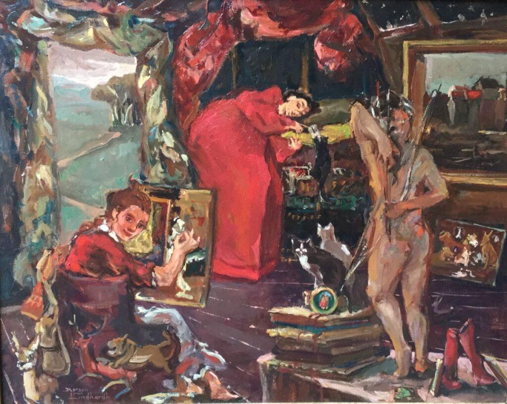 Schilderijen te koop, kunstschilder Sacha Borgen Lindhardt Atelier van de schilder olieverf op paneel, paneelmaat 40 x 50 cm linksonder gesigneerd, Expositie Galerie Wijdemeren Breukeleveen