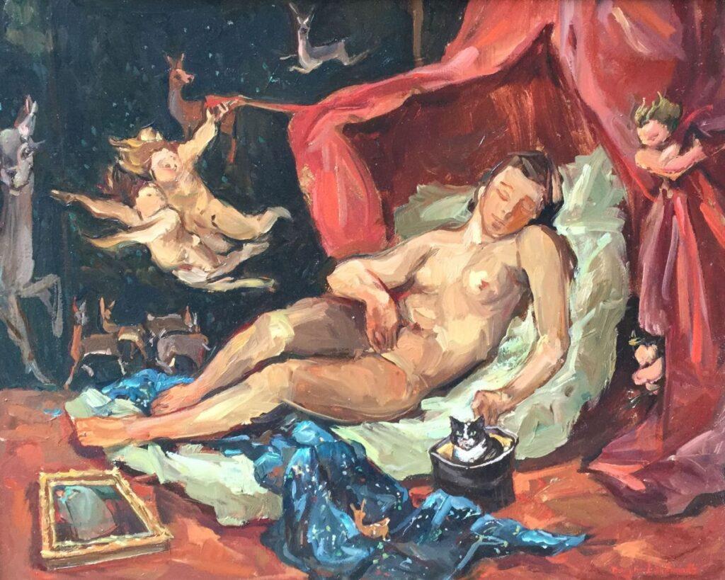 Schilderijen te koop, kunstschilder Sacha Borgen Lindhardt Liggend naakt met engeltjes en poes olieverf op paneel, 32 x 40 cm rechtsonder gesigneerd, expositie Galerie Wijdemeren Breukeleveen