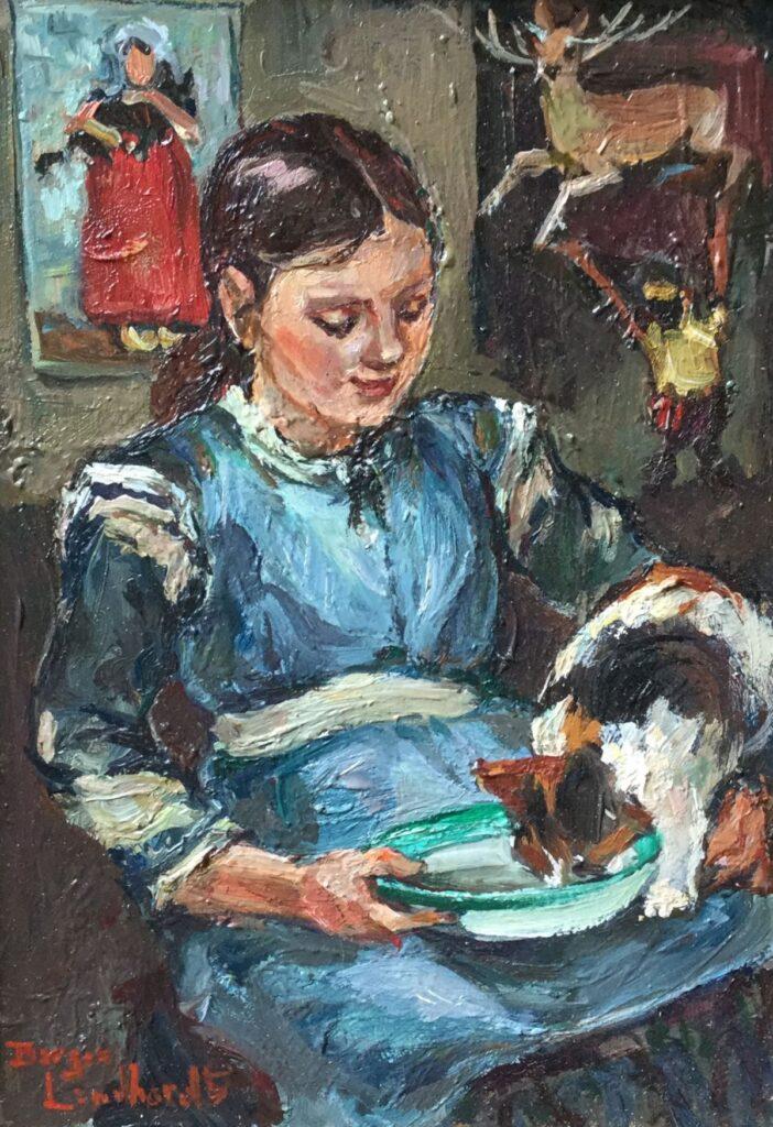 C4563-9, Sacha Borgen Lindhardt, Lindhardt, Meisje met poes op schoot, olieverf op paneel, 18 x 13 cm l.o. gesigneerd, kunst te koop, schilderijen te koop, exposities, galerie wijdemeren breukeleveen