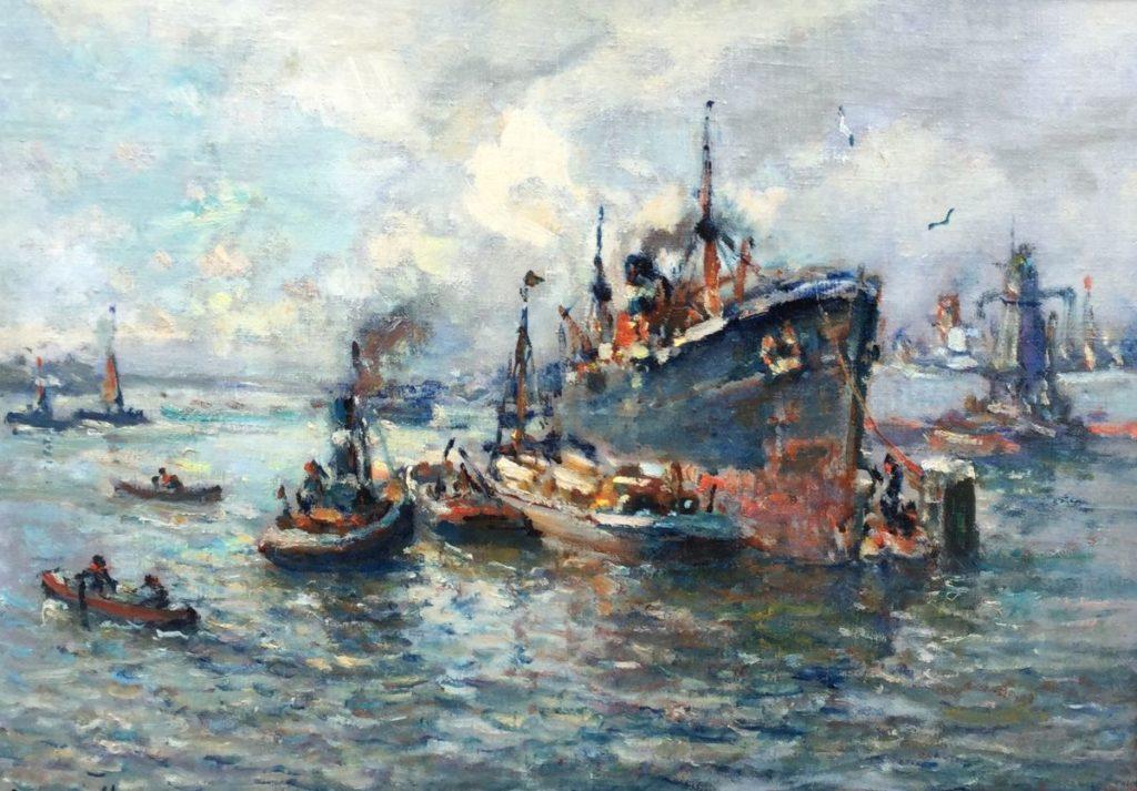 Schilderijen te koop van kunstschilder Evert Moll havengezicht marouflé, 48,5 x 68,5 cm, Expositie Galerie Wijdemeren Breukeleveen