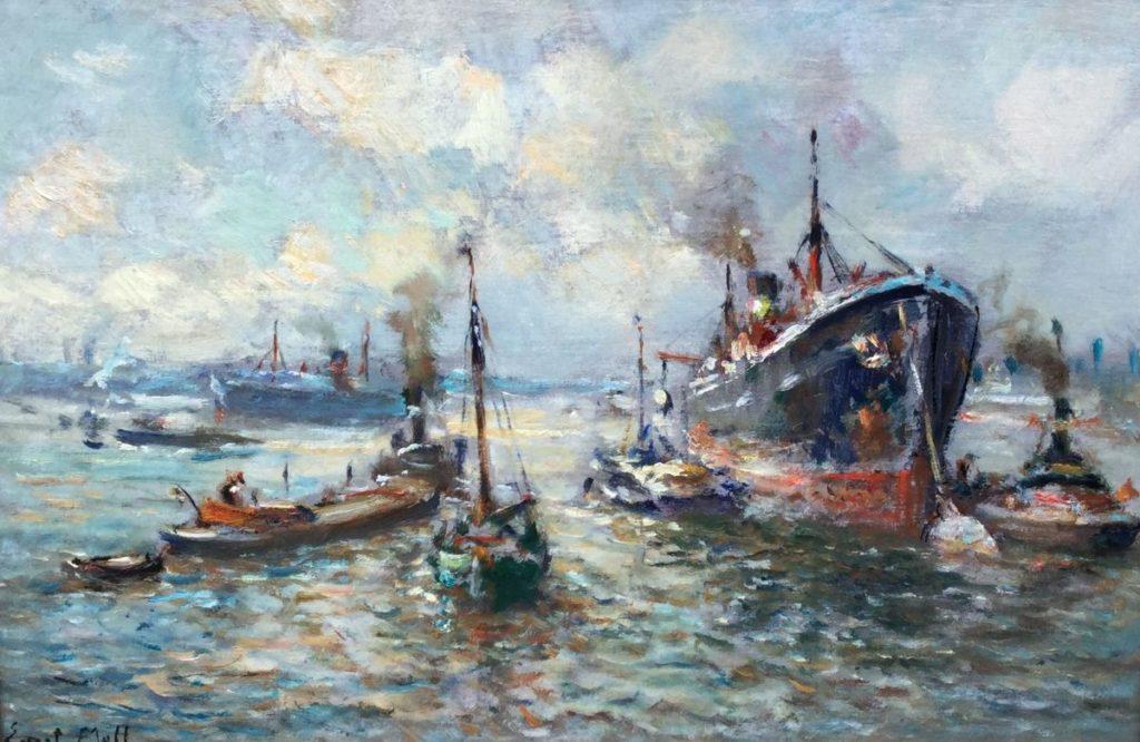 Schilderijen te koop van kunstschilder Evert Moll Havengezicht olie op paneel, 40.5 x 60.5 cm linksonder gesigneerd, Expositie Galerie Wijdemeren Breukeleveen