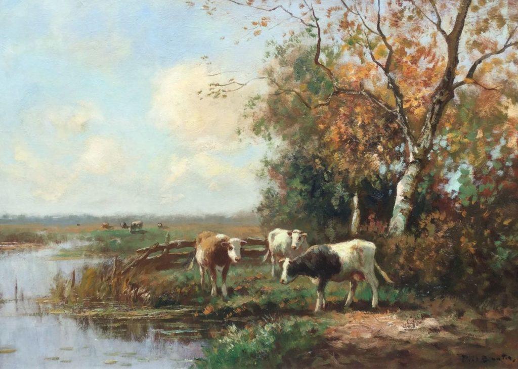Schilderijen te koop van kunstschilder Piet Bouter koeien, gesigneerd, Expositie Galerie Wijdemeren Breukeleveen