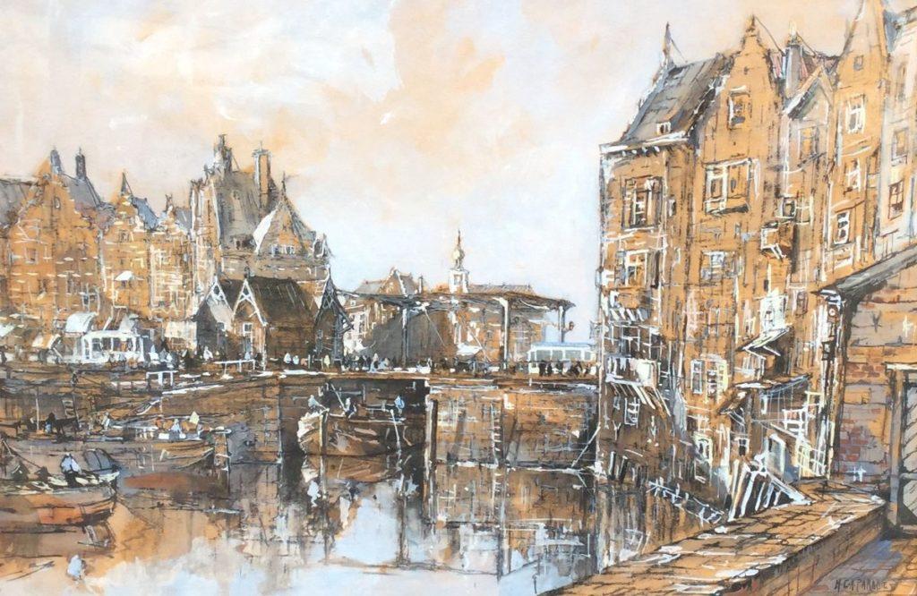 Schilderijen te koop van kunstschilder Paradies Amsterdam gemengde techniek op papier, 43,5 x 63,5 cm r.o. gesigneerd, Expositie Galerie Wijdemeren Breukeleveen