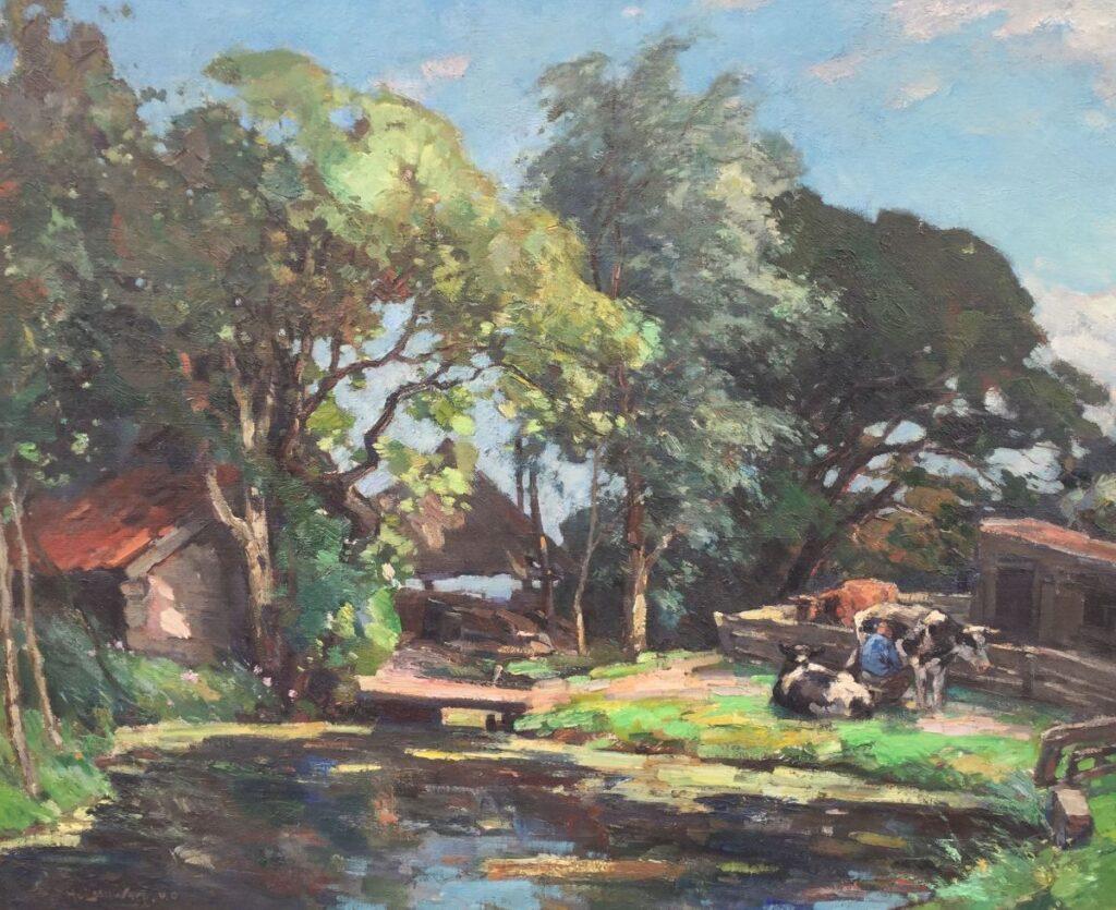 Schilderijen te koop van kunstschilder Henk van Leeuwen van Oudewater Boerderij met koeien en boer olie op doek, gesigneerd, Expositie Galerie Wijdemeren Breukeleveen