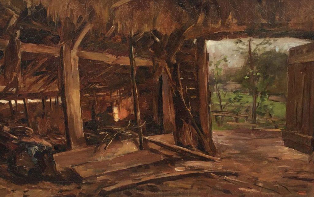 Schilderijen te koop van kunstschilder Pieter Egmond Zolder pa en ma, (stal bekend bij Zuiderzeemuseum) olie op doek, 34.5 x 54.5 cm r.o. gesigneerd, Expositie Galerie Wijdemeren Breukeleveen