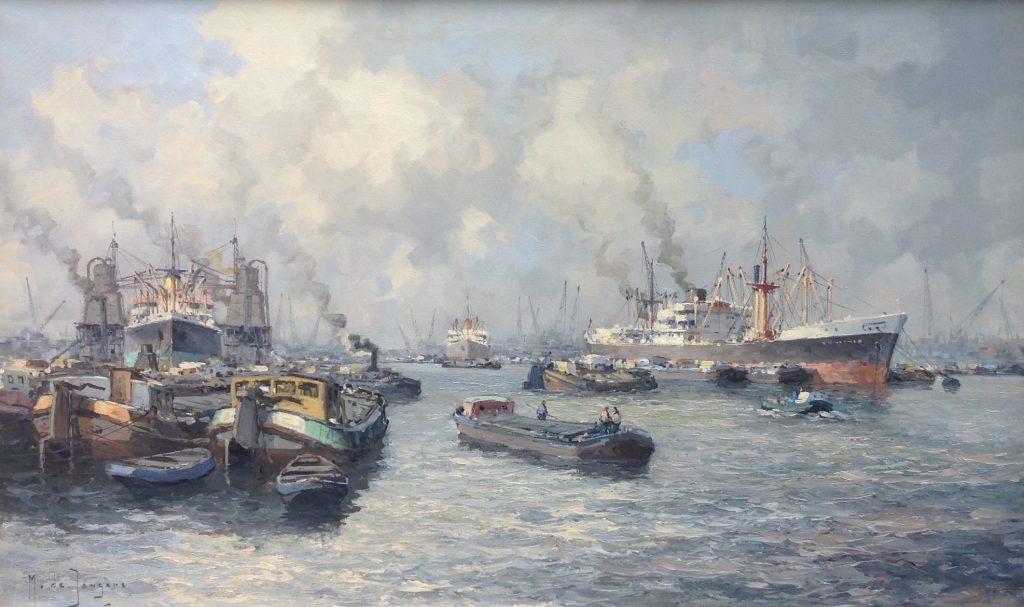 Schilderijen te koop van kunstschilder Marius de Jongere Havengezicht Rotterdam Olie op doek, gesigneerd, Expositie Galerie Wijdemeren Breukeleveen
