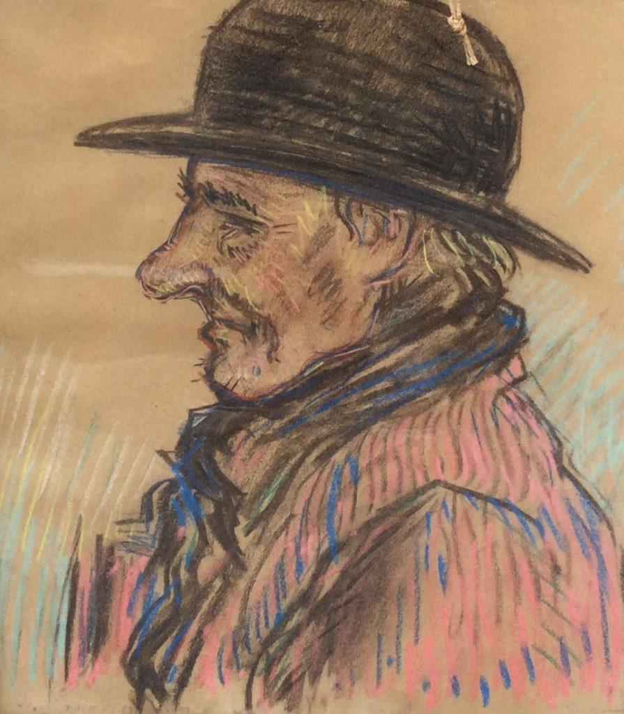 Schilderijen te koop van kunstschilderOtto van Tussenbroek van Nierop Portret man met bolhoed pastelkrijt op papier, 32 x 27,5 cm gesigneerd, Expositie Galerie Wijdemeren Breukeleveen