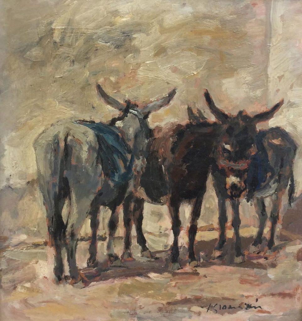 Schilderijen te koop, kunstschilderJan Groenestein ezeltjes olie op board, beeldmaat 45x43 r.o. gesigneerd, Expositie Galerie Wijdemeren Breukeleveen