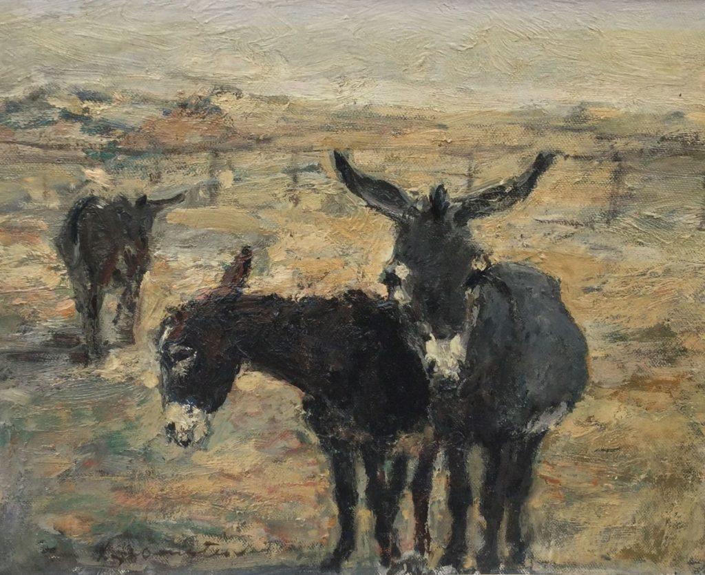 Schilderijen te koop van kunstschilder Groenestein Ezeltje olie op doek, Expositie Galerie Wijdemeren Breukeleveen