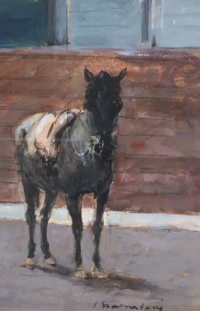 Schilderijen te koop van kunstschilder Jan Groenestein Paardje gemengde techniek op papier, 34.5 x 22.5 cm rechtsonder gesigneerd, Expositie Galerie Wijdemeren Breukeleveen