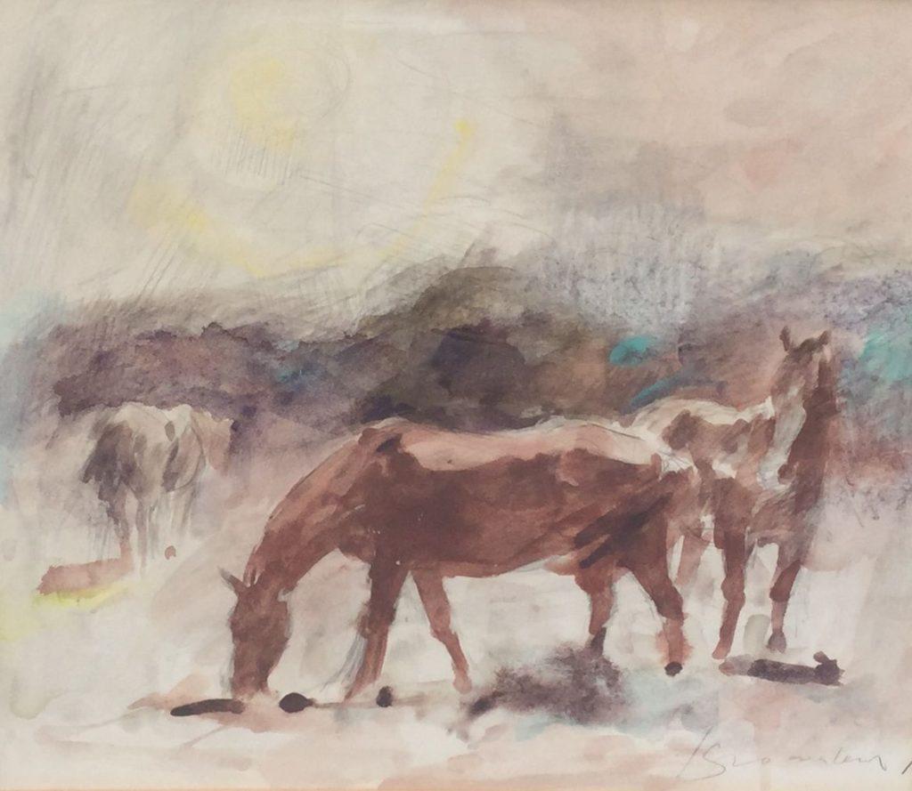 Schilderijen te koop van kunstschilder Jan Groenestein Kudde paarden gemengde techniek op papier, 24.5 x 27 cm rechtsonder gesigneerd, Expositie Galerie Wijdemeren Breukeleveen