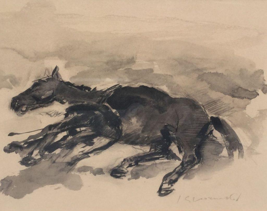 Schilderijen te koop van kunstschilder Jan Groenestein Dood paard gemengde techniek op papier, 27.5 x 35 cm rechtsonder gesigneerd, Expositie Galerie Wijdemeren Breukeleveen