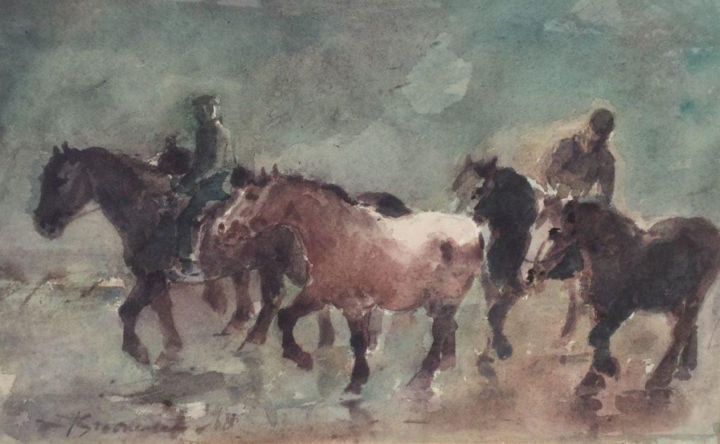 Schilderijen te koop van kunstschilderJan Groenestein Kudde paarden met ruiters aquarel op papier, 28.5 x 47 cm linksonder gesigneerd, Expositie Galerie Wijdemeren Breukeleveen