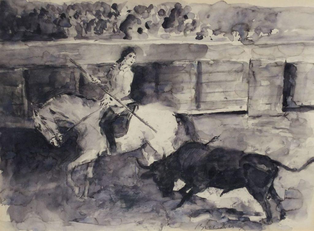 Schilderijen te koop van kunstschilder Jan Groenestein Stierenvechten aquarel, 42.5 x 58 cm midden rechtsonder gesigneerd, Expositie Galerie Wijdemeren Breukeleveen