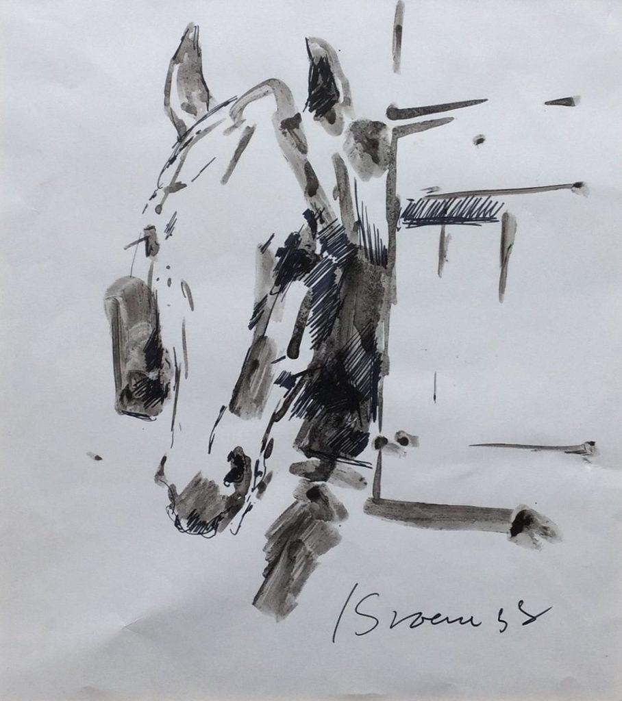 Schilderijen te koop van kunstschilder Jan Groenestein Paardenhoofd gemengde techniek op papier 27 x 24 cm rechtsonder gesigneerd, Expositie Galerie Wijdemeren Breukeleveen