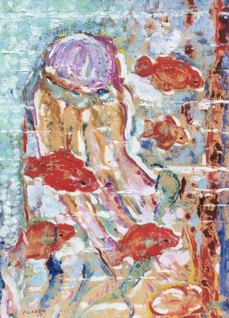 C4583 Dirk Filarski Onderwaterleven met goudvissen en kwal olie op papier, 39 x 29 cm l.o. gesigneerd en gedateerd 58, te koop bij galerie wijdemeren breukeleveen, kunst te koop, schilderijen te koop, expositie