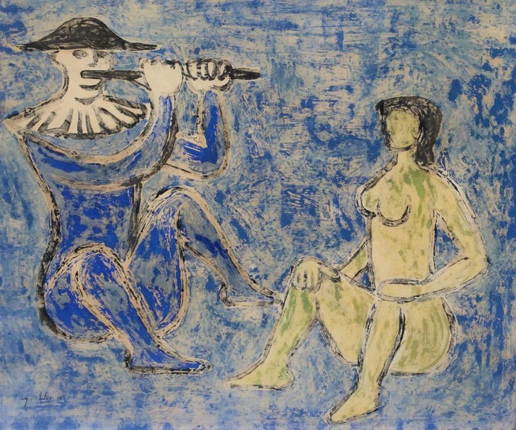 Schilderijen te koop van kunstschilder Geni Peter Fluitspeler gouache op papier, 47 x 56,5 cm l.o. gesigneerd en gedateerd 1951, Expositie Galerie Wijdemeren Breukeleveen
