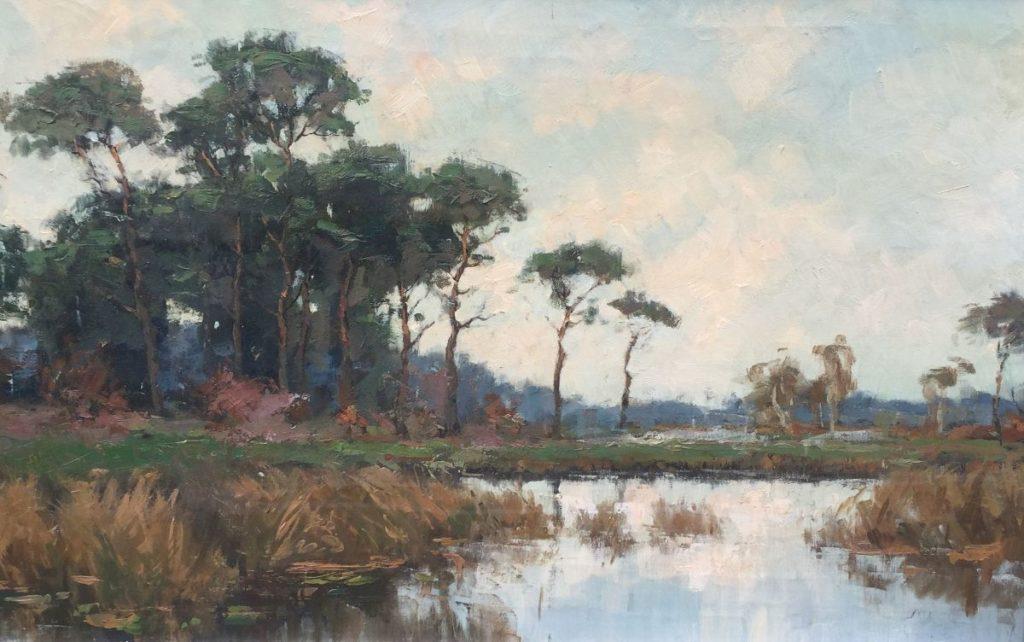 Schilderijen te koop van kunstschilder Jack Aué polderlandschap met bomen olieverf op doek, 50 x 80 cm onduidelijk gesigneerd, Expositie Galerie Wijdemeren Breukeleveen