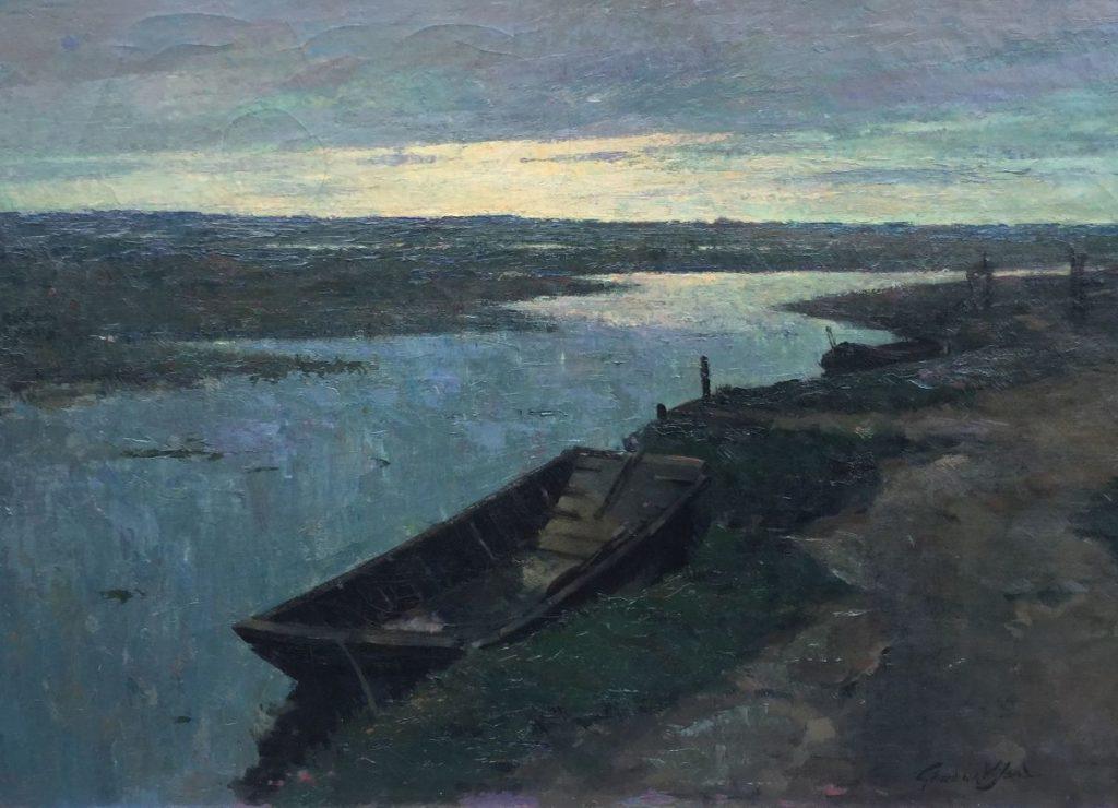Schilderijen te koop van kunstschilder Gerard van Wijland polderlandschap met bootje te Ankeveen olieverf op doek, 71,5 x 100,5 cm gesigneerd rechtsonder, Expositie Galerie Wijdemeren Breukeleveen