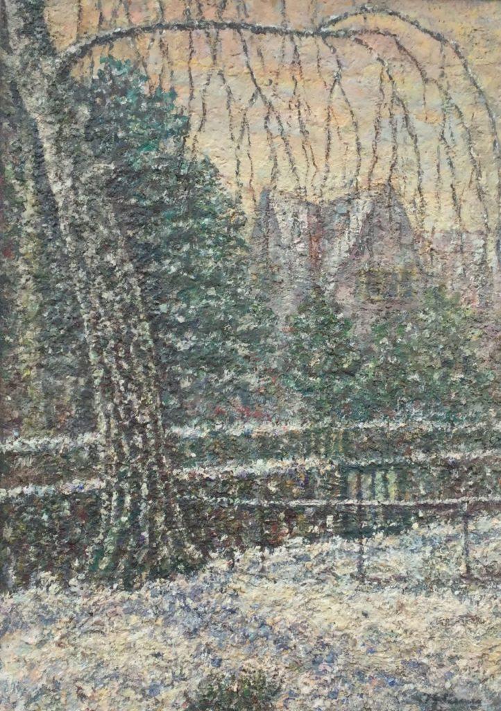 Schilderijen te koop van kunstschilder J.G. Siemer Winter, Jan Steenlaan Hilversum maroufle, 71 x 51 cm rechtsonder gesigneerd, Expositie Galerie Wijdemeren Breukeleveen