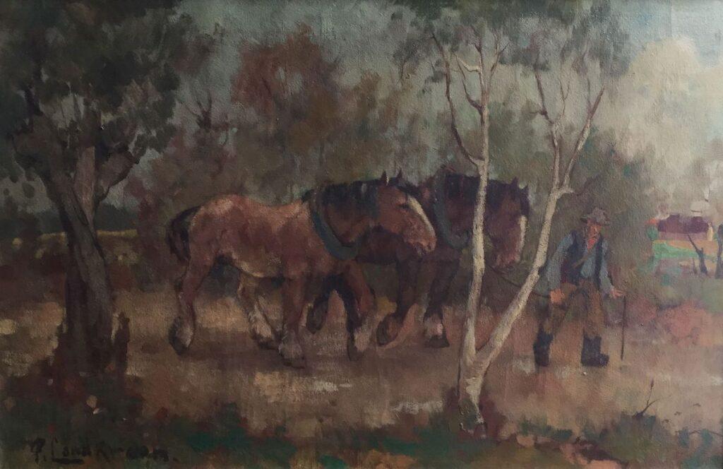 Schilderijen te koop van kunstschilder P. Landkroon trekpaarden olie op doek, doekmaat 60 x 90 cm linksonder gesigneerd, Expositie Galerie Wijdemeren Breukeleveen