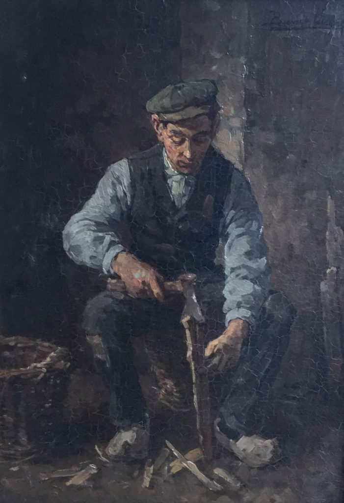 Schilderijen te koop van kunstschilder Ben Viegers Houthakkende boer olie op doek, 44 x 30 cm rechtsboven gesigneerd, Expositie Galerie Wijdemeren Breukeleveen
