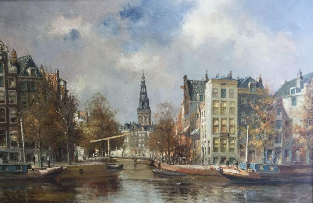 Kunstenaar Jan Gerard Smits C4596 JG Smits stadsgezicht Amsterdam olie op doek, doekmaat 40 x 60,5 cm linksonder gesigneerd verkocht