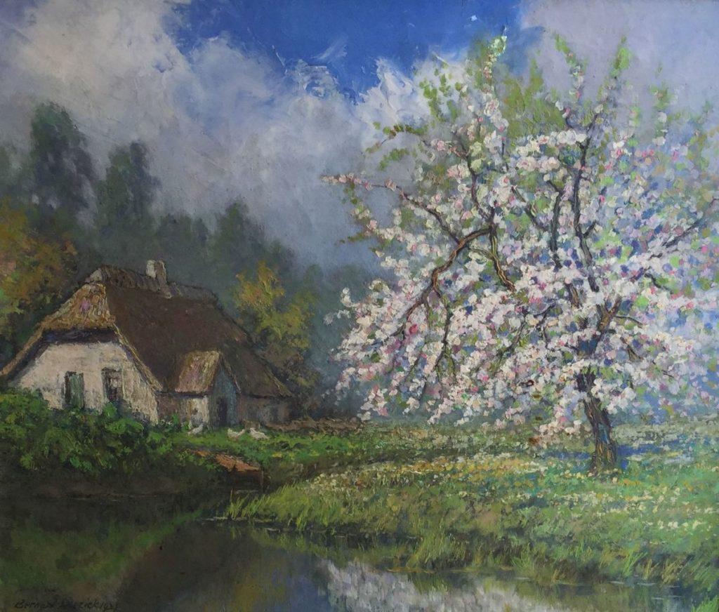 Schilderijen te koop van kunstschilder B. Boeziek Bloesemboom aan het water olie op doek, 45,5 x 53,5 cm linksonder gesigneerd, Expositie Galerie Wijdemeren Breukeleveen