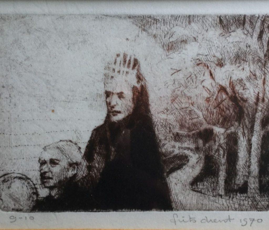 Schilderijen te koop van kunstschilder Frits Drent 2 adellijke dames ets, beeldmaat 8 x 11 cm oplage 9 uit 10, rechtsonder gesigneerd en gedateerd 1970, Expositie Galerie Wijdemeren Breukeleveen