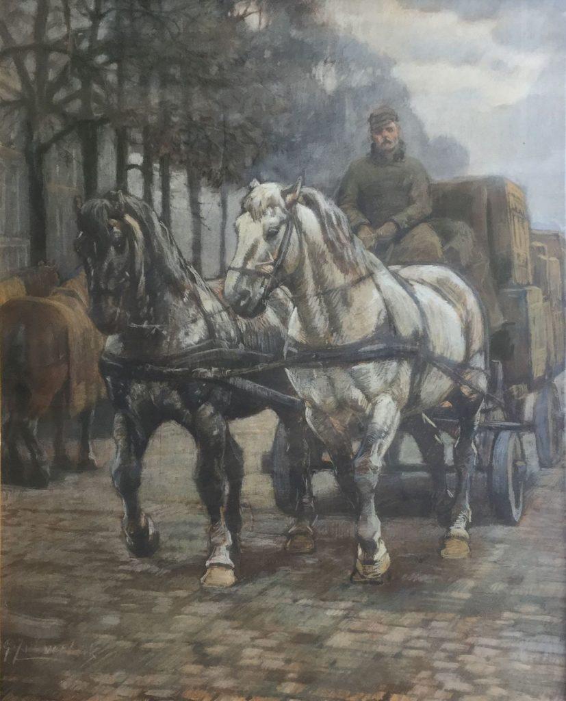 Schilderijen te koop van kunstschilder G.J. van Overbeek paarden voor sleperswagen pastel op papier, gesigneerd, Expositie Galerie Wijdemeren Breukeleveen