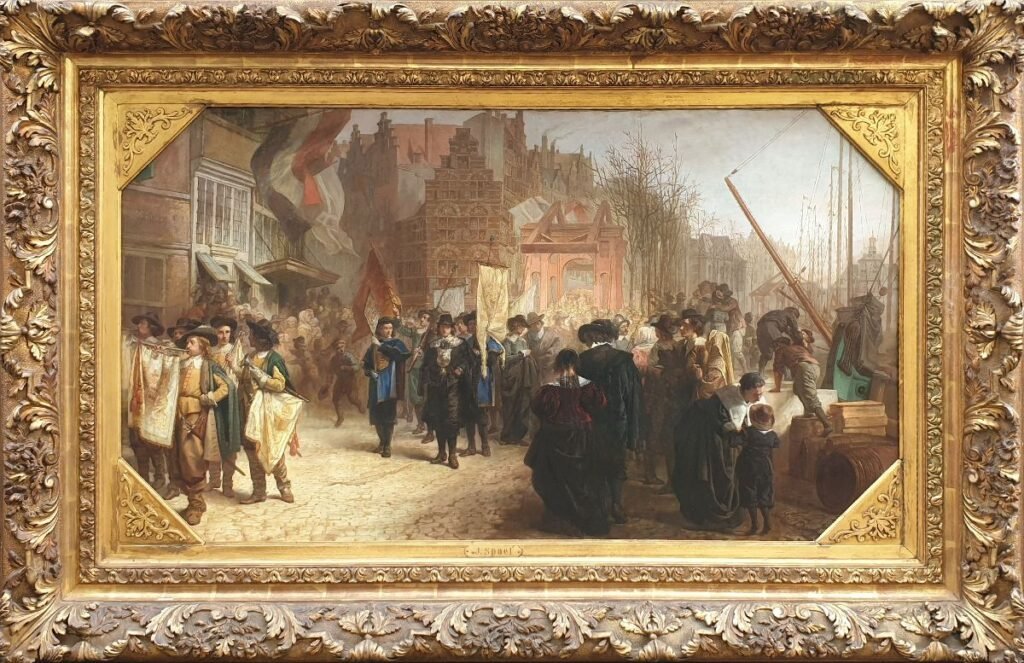 Kunstenaar Jacobus Spoel C4605 Jacobus Spoel Rederijkers optocht te Rotterdam, 1642 olie op doek, 70 x 124 cm rechtsonder gesigneerd met fraai museale authentiek lijst verkocht