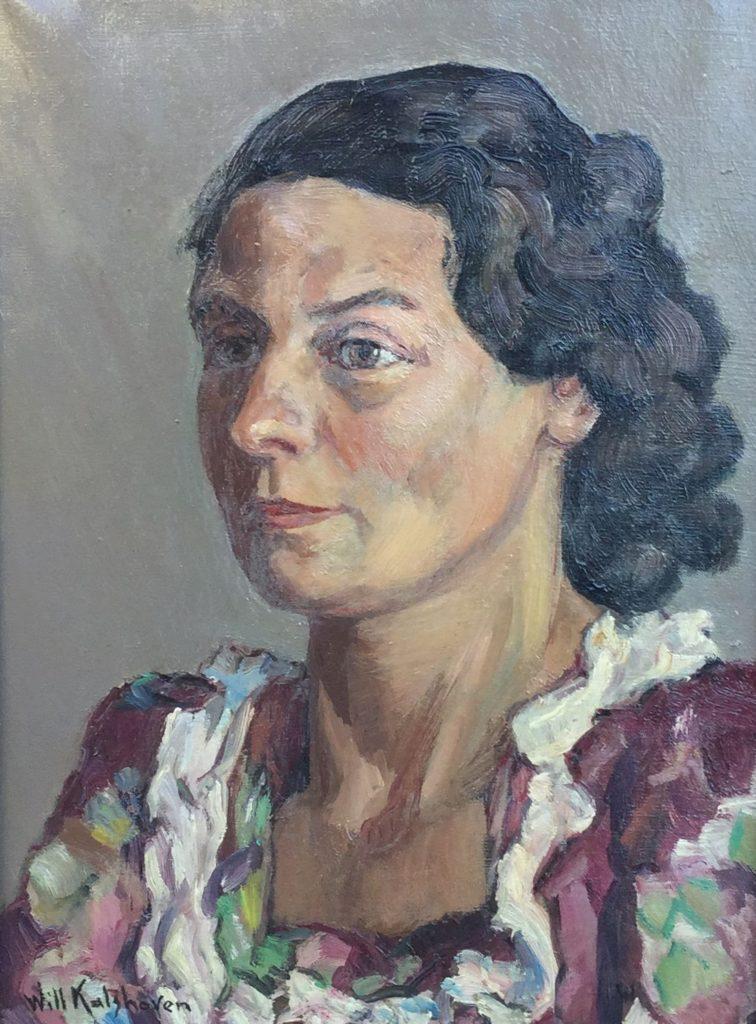Schilderijen te koop van kunstschilder W. Kalshoven Portret van een dame olie op doek, 40.5 x 30 cm l.o. gesigneerd en gedateerd 1950 (verso), Expositie Galerie Wijdemeren Breukeleveen