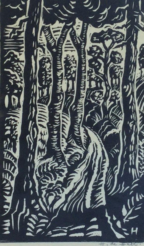 Schilderijen te koop, kunstschilder H. de Heer Bosgezicht houtsnede op papier, beeldmaat 24 x 14 cm rechtsonder handgesigneerd, expositie Galerie Wijdemeren Breukeleveen