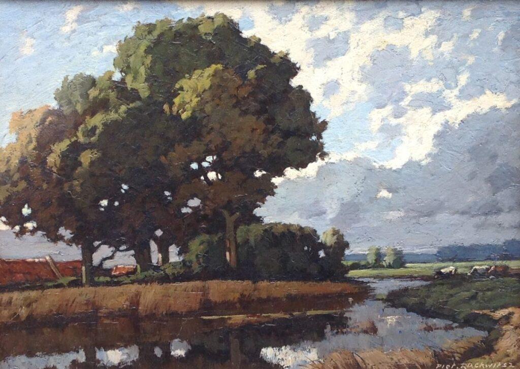 Kunstenaar Piet Rackwitz C461A, Piet Rackwitz, olie op doek, 20 x 29 cm r.o. gesigneerd verkocht