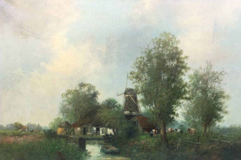 Schilderijen te koop van kunstschilder H.J. Veger Boerderijtje bij de molen olie op doek, 60 x 90 cm rechtsonder gesigneerd, Expositie Galerie Wijdemeren Breukeleveen