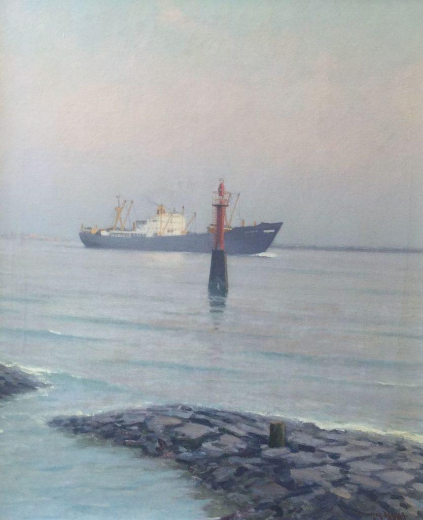 Schilderijen te koop van kunstschilder Henk Dekker Vrachtschip achter seinpost olie op doek, 60.5 x 50.5 cm rechtsonder gesigneerd, Expositie Galerie Wijdemeren Breukeleveen