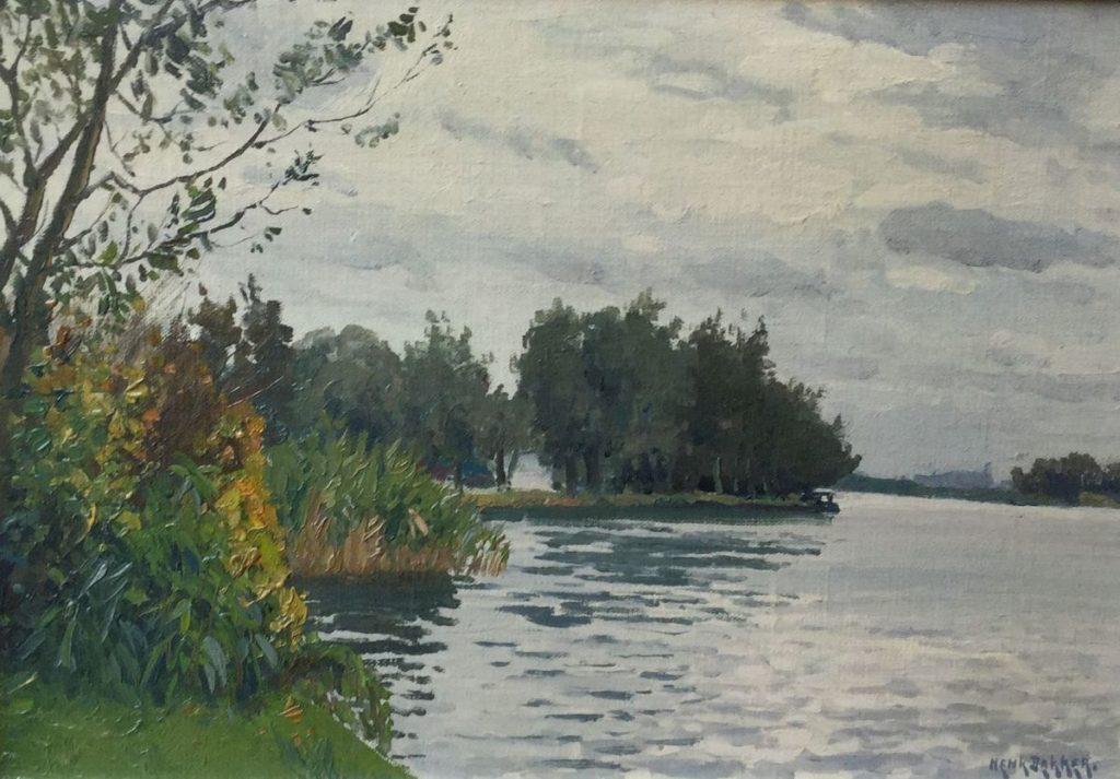 Schilderijen te koop van kunstschilder Henk Dekker Plasgezicht olie op board, 25 x 36.5 cm rechtsonder gesigneerd, Expositie Galerie Wijdemeren Breukeleveen