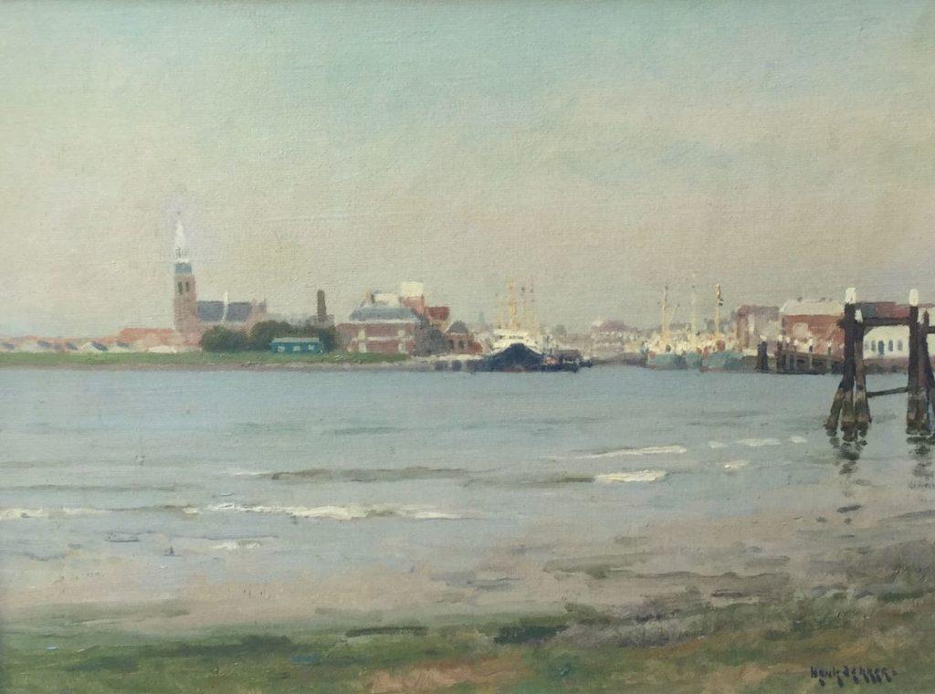Schilderijen te koop van kunstschilder Henk Dekker Havengezicht olie op doek, 30 x 40 cm rechtsonder gesigneerd, Expositie Galerie Wijdemeren Breukeleveen