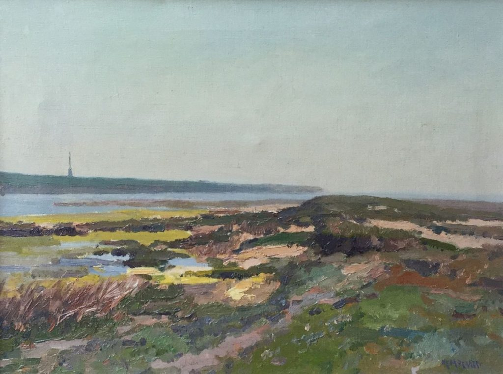 Schilderijen te koop van kunstschilder Henk Dekker Aan de waterkant olie op doek, 30.5 x 40.5 cm rechtsonder gesigneerd, Expositie Galerie Wijdemeren Breukeleveen