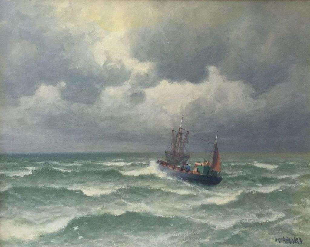 Schilderijen te koop van kunstschilder Henk Dekker Kotter op zee olie op doek, 40 x 50 cm rechtsonder gesigneerd, Expositie Galerie Wijdemeren Breukeleveen