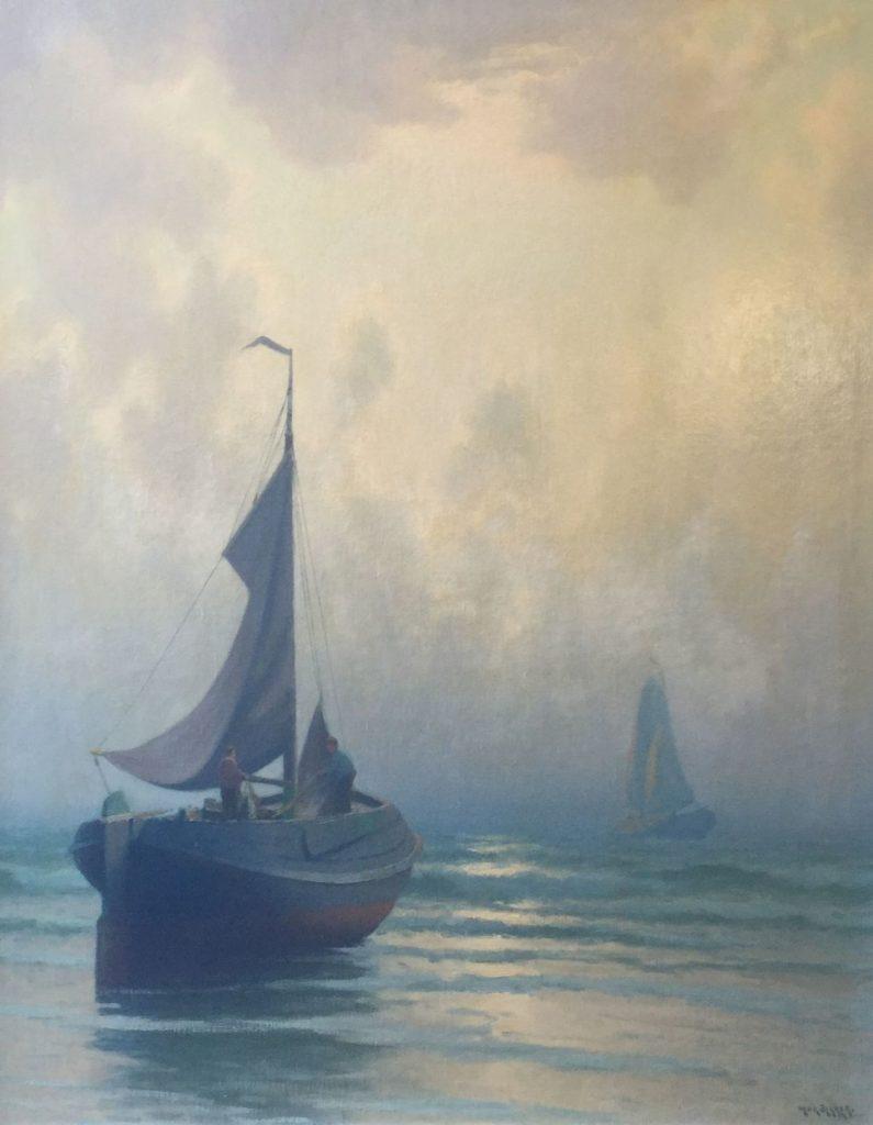schilderijen te koop van kunstschilder, Henk Dekker Drooggevallen botter olie op doek, doekmaat 100,5 x 80,5 cm rechtsonder gesigneerd, expositie, galerie wijdemeren breukeleveen