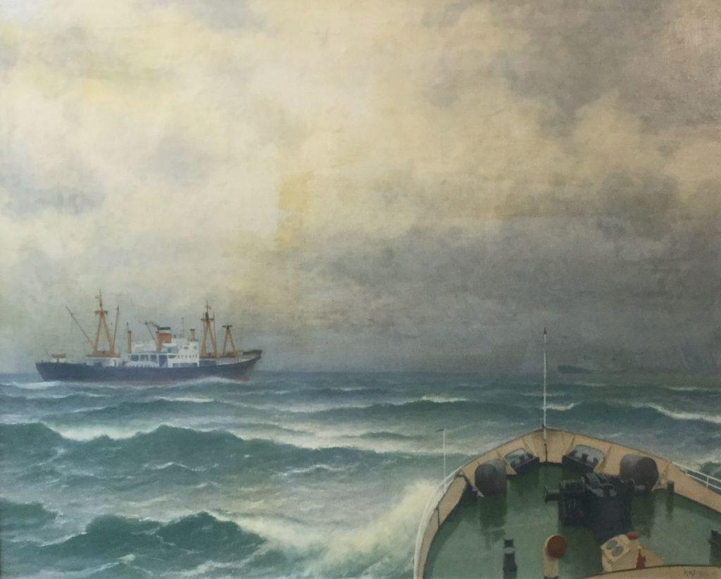 C4625-9 Henk Dekker Kotters - gezien vanaf een kotter olie op doek, doekmaat 80,5 x 100,5 cm r.o. gesigneerd en gedateerd 68, galerie wijdemeren breukeleveen