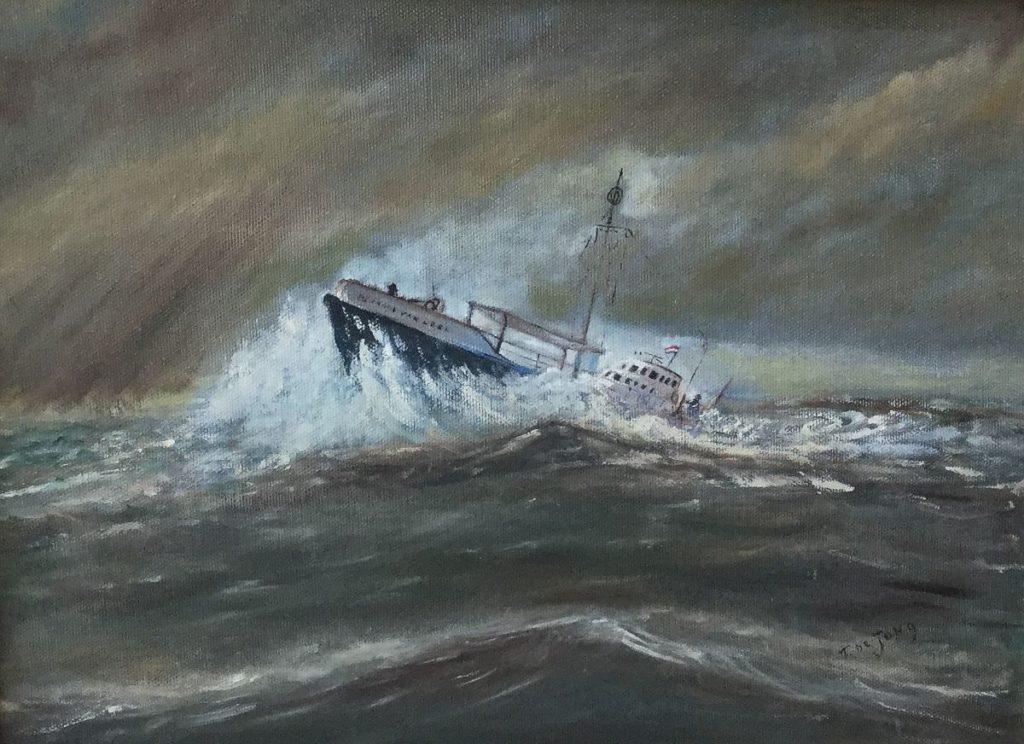 schilderijen te koop Kotter op zee (Bernard van Leer) olie op doek, doekmaat 30,5 x 40 cm rechtsonder gesigneerd, expositie, galerie wijdemeren breukeleveen