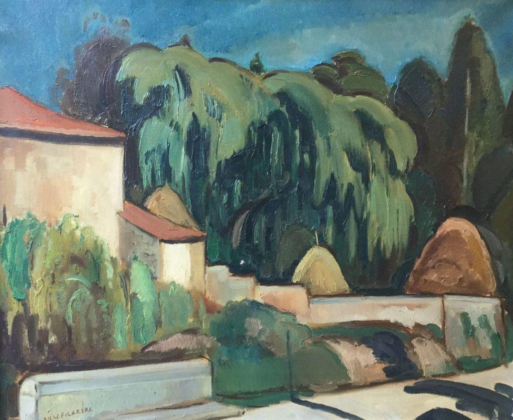 Kunstenaar Dirk Herman Willem Filarski C4631 Dirk Filarski Verso titel: Weg naar Arles Sur Tech olie op doek, 54 x 65.5 cm verkocht l.o. gesigneerd