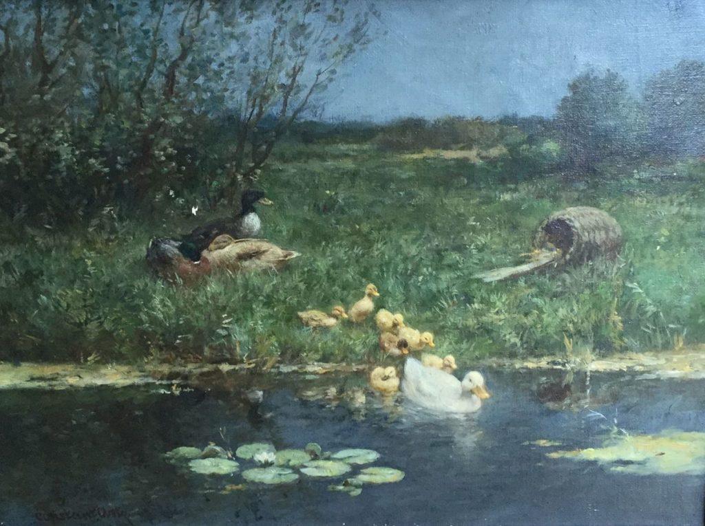 Schilderijen te koop van kunstschilder Constant Artz Eendjes aan de waterkant olie op doek, 30,5x40,5 l.o. gesigneerd, Expositie Galerie Wijdemeren Breukeleveen
